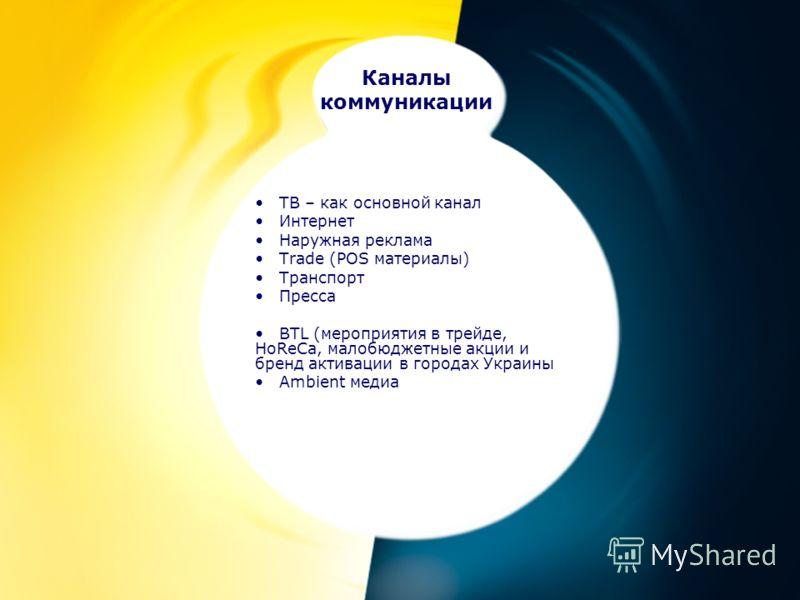 ТВ – как основной канал Интернет Наружная реклама Trade (POS материалы) Транспорт Пресса BTL (мероприятия в трейде, HoReCa, малобюджетные акции и бренд активации в городах Украины Ambient медиа Каналы коммуникации