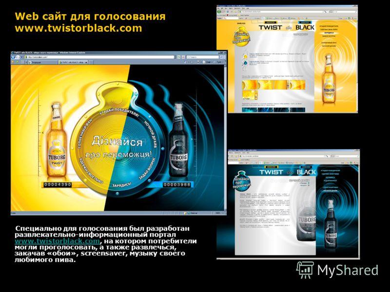 Web сайт для голосования www.twistorblack.com Специально для голосования был разработан развлекательно-информационный портал www.twistorblack.com, на котором потребители могли проголосовать, а также развлечься, закачав «обои», screensaver, музыку сво