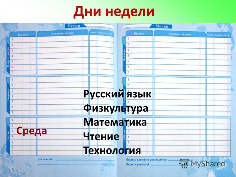 Дни недели Среда Русский язык Физкультура Математика Чтение Технология