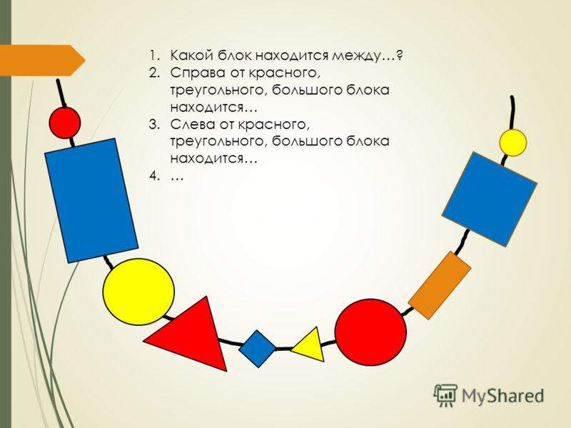 1.Какой блок находится между…? 2.Справа от красного, треугольного, большого блока находится… 3.Слева от красного, треугольного, большого блока находится… 4.…