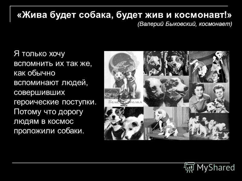 «Жива будет собака, будет жив и космонавт!» (Валерий Быковский, космонавт) Я только хочу вспомнить их так же, как обычно вспоминают людей, совершивших героические поступки. Потому что дорогу людям в космос проложили собаки.