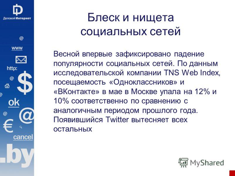 Блеск и нищета социальных сетей Весной впервые зафиксировано падение популярности социальных сетей. По данным исследовательской компании TNS Web Index, посещаемость «Одноклассников» и «ВКонтакте» в мае в Москве упала на 12% и 10% соответственно по ср