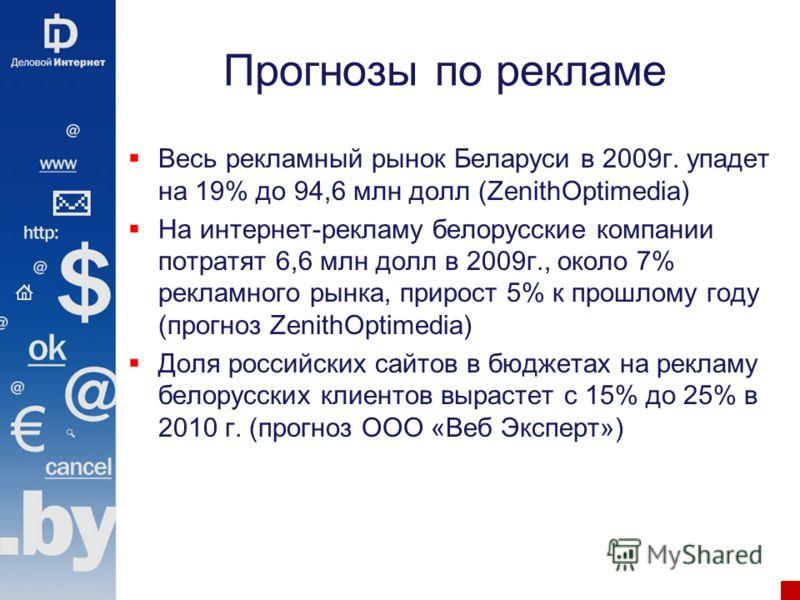 Прогнозы по рекламе Весь рекламный рынок Беларуси в 2009г. упадет на 19% до 94,6 млн долл (ZenithOptimedia) На интернет-рекламу белорусские компании потратят 6,6 млн долл в 2009г., около 7% рекламного рынка, прирост 5% к прошлому году (прогноз Zenith