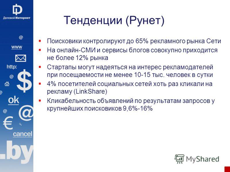 Тенденции (Рунет) Поисковики контролируют до 65% рекламного рынка Сети На онлайн-СМИ и сервисы блогов совокупно приходится не более 12% рынка Стартапы могут надеяться на интерес рекламодателей при посещаемости не менее 10-15 тыс. человек в сутки 4% п