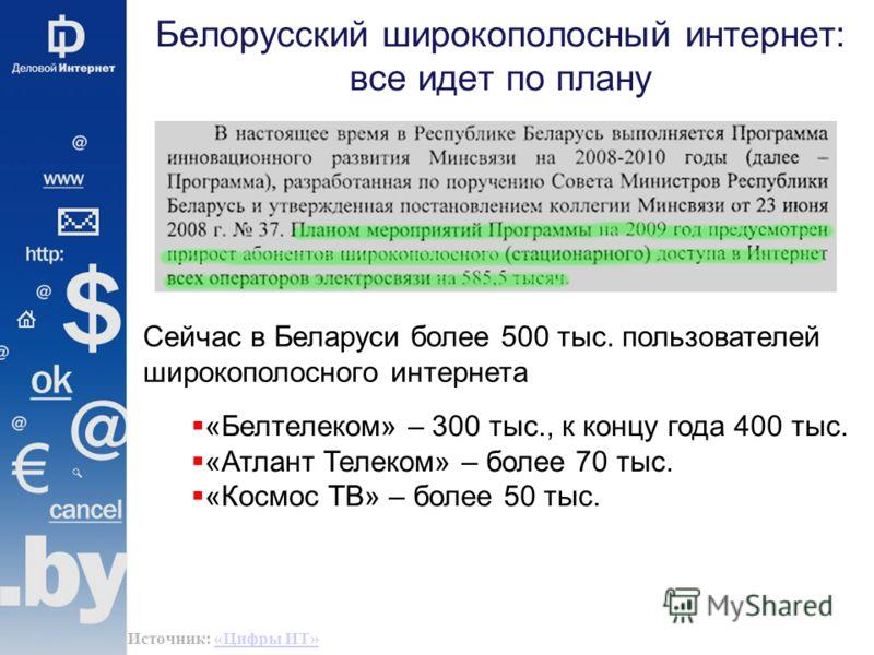 Белорусский широкополосный интернет: все идет по плану Сейчас в Беларуси более 500 тыс. пользователей широкополосного интернета «Белтелеком» – 300 тыс., к концу года 400 тыс. «Атлант Телеком» – более 70 тыс. «Космос ТВ» – более 50 тыс. Источник: «Циф