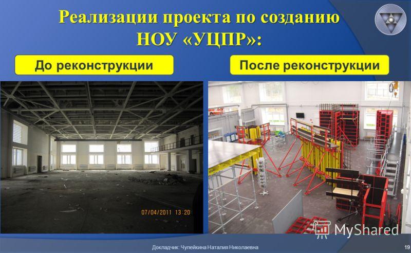 Реализации проекта по созданию НОУ «УЦПР»: 19 До реконструкцииПосле реконструкции Докладчик: Чупейкина Наталия Николаевна