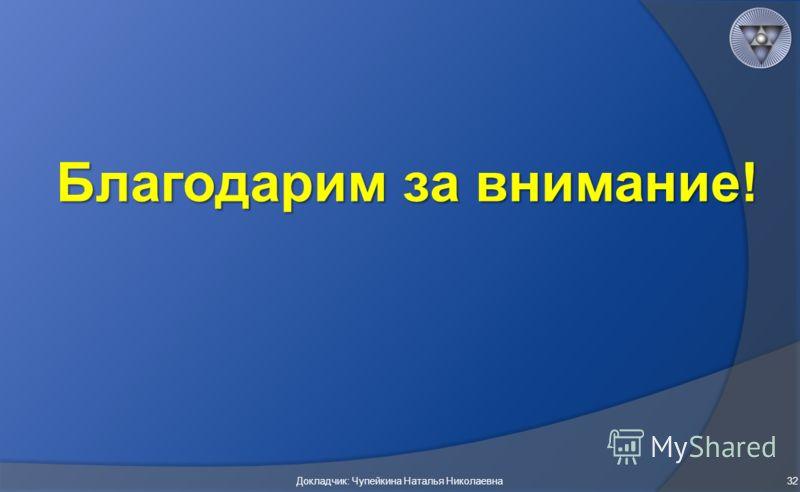 Благодарим за внимание! Докладчик: Чупейкина Наталья Николаевна32