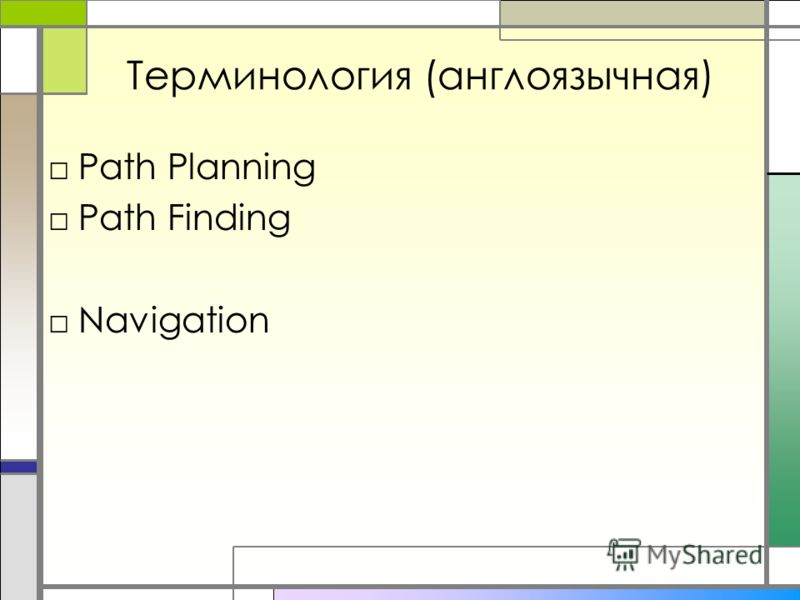 Терминология (англоязычная) Path Planning Path Finding Navigation