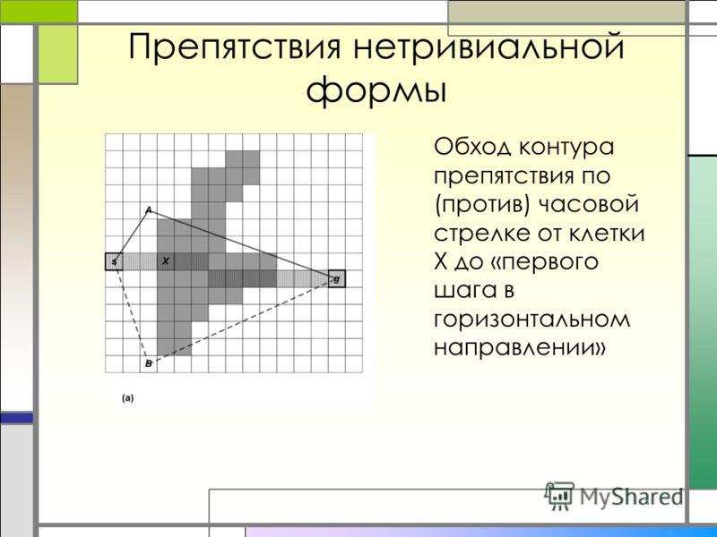 Препятствия нетривиальной формы Обход контура препятствия по (против) часовой стрелке от клетки X до «первого шага в горизонтальном направлении»