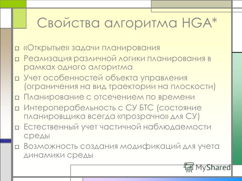 Свойства алгоритма HGA* «Открытые» задачи планирования Реализация различной логики планирования в рамках одного алгоритма Учет особенностей объекта управления (ограничения на вид траектории на плоскости) Планирование с отсечением по времени Интеропер