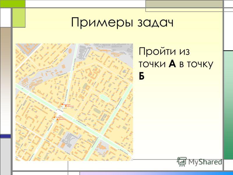 Примеры задач Пройти из точки А в точку Б