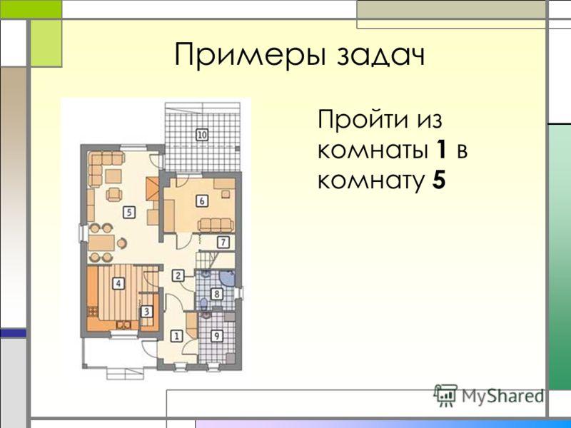 Примеры задач Пройти из комнаты 1 в комнату 5