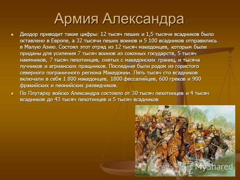 Армия Александра Диодор приводит такие цифры: 12 тысяч пеших и 1,5 тысячи всадников было оставлено в Европе, а 32 тысячи пеших воинов и 5 100 всадников отправились в Малую Азию. Состоял этот отряд из 12 тысяч македонцев, которым были приданы для усил