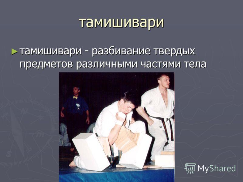 тамишивари тамишивари - разбивание твердых предметов различными частями тела тамишивари - разбивание твердых предметов различными частями тела