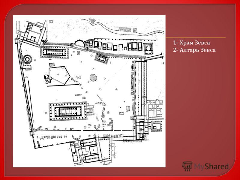 1- Храм Зевса 2- Алтарь Зевса
