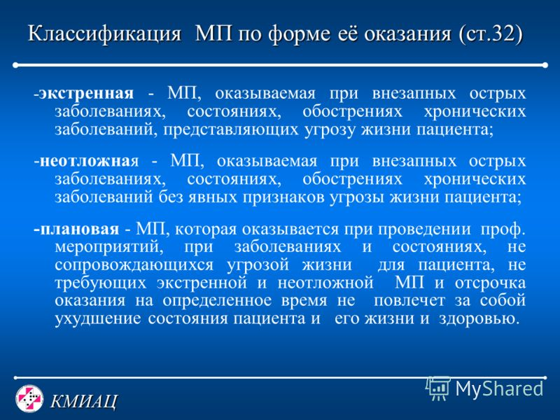 КМИАЦ Классификация МП по форме её оказания (ст.32) Классификация МП по форме её оказания (ст.32) - экстренная - МП, оказываемая при внезапных острых заболеваниях, состояниях, обострениях хронических заболеваний, представляющих угрозу жизни пациента;