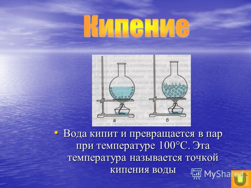 Вода кипит и превращается в пар при температуре 100°С. Эта температура называется точкой кипения воды Вода кипит и превращается в пар при температуре 100°С. Эта температура называется точкой кипения воды