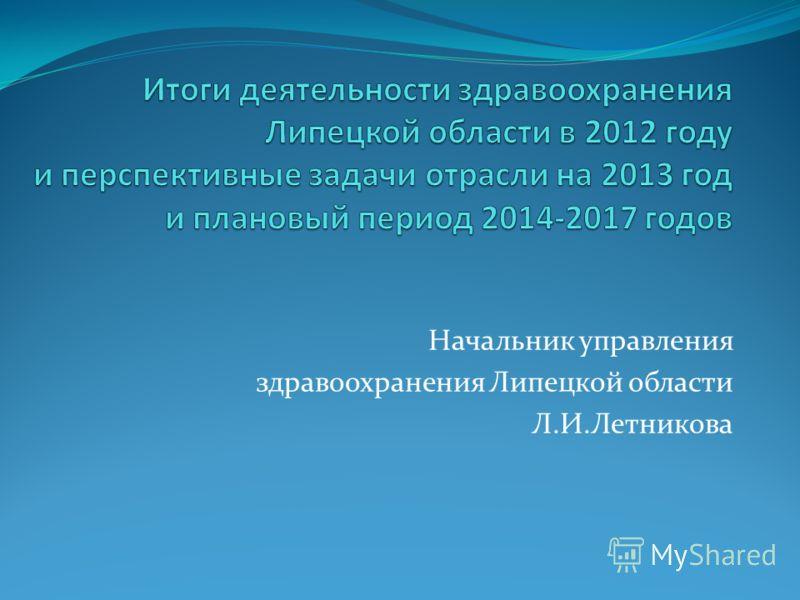 Начальник управления здравоохранения Липецкой области Л.И.Летникова