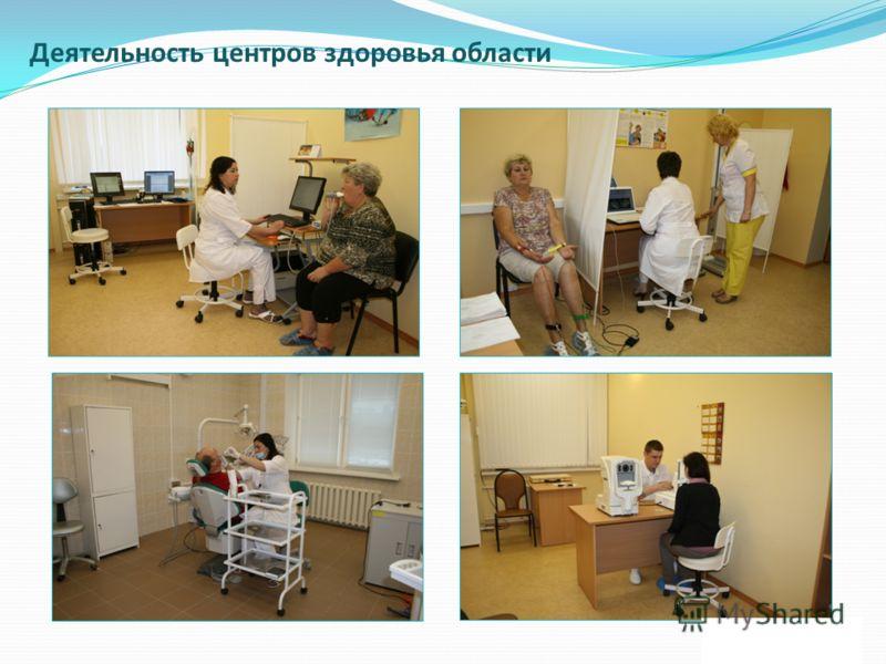 Деятельность центров здоровья области