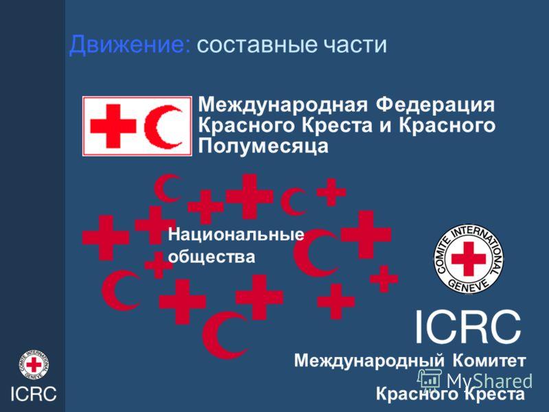 Движение: составные части Национальные общества Международная Федерация Красного Креста и Красного Полумесяца Международный Комитет Красного Креста