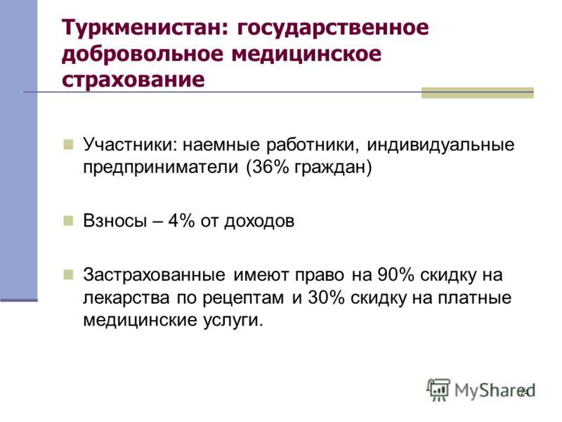 24 Туркменистан: государственное добровольное медицинское страхование Участники: наемные работники, индивидуальные предприниматели (36% граждан) Взносы – 4% от доходов Застрахованные имеют право на 90% скидку на лекарства по рецептам и 30% скидку на