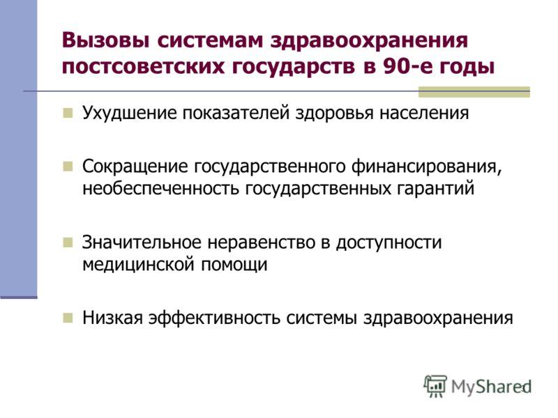 3 Вызовы системам здравоохранения постсоветских государств в 90-е годы Ухудшение показателей здоровья населения Сокращение государственного финансирования, необеспеченность государственных гарантий Значительное неравенство в доступности медицинской п