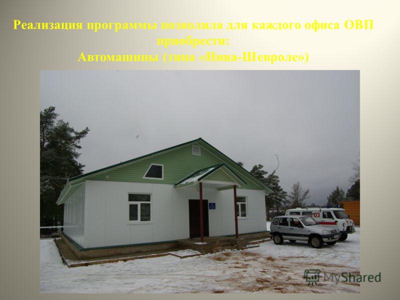 Реализация программы позволила для каждого офиса ОВП приобрести: Автомашины (типа «Нива-Шевроле») 16
