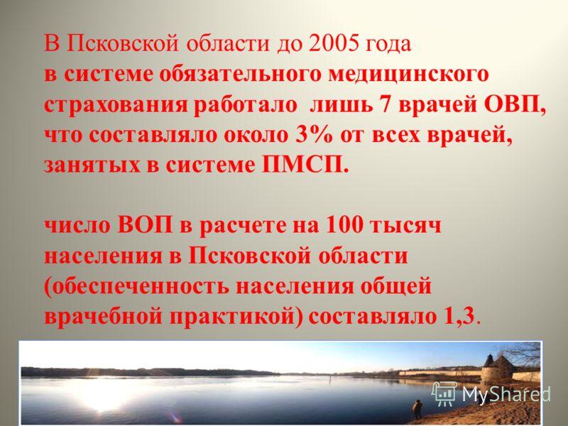 В Псковской области до 2005 года в системе обязательного медицинского страхования работало лишь 7 врачей ОВП, что составляло около 3% от всех врачей, занятых в системе ПМСП. число ВОП в расчете на 100 тысяч населения в Псковской области (обеспеченнос