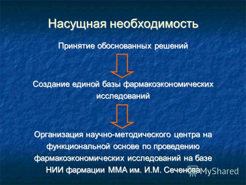 Насущная необходимость Принятие обоснованных решений Создание единой базы фармакоэкономических исследований Организация научно-методического центра на функциональной основе по проведению фармакоэкономических исследований на базе НИИ фармации ММА им.
