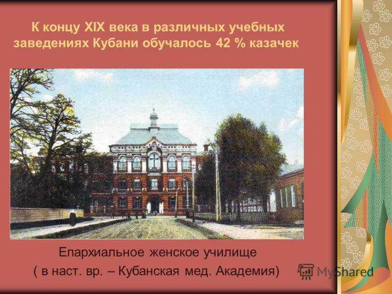 К концу XIX века в различных учебных заведениях Кубани обучалось 42 % казачек Епархиальное женское училище ( в наст. вр. – Кубанская мед. Академия)