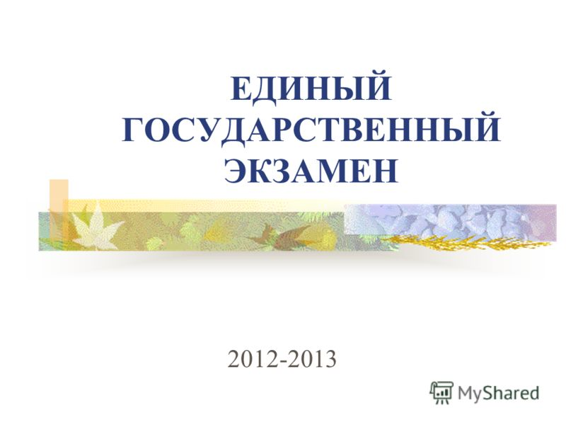 2012-2013 ЕДИНЫЙ ГОСУДАРСТВЕННЫЙ ЭКЗАМЕН