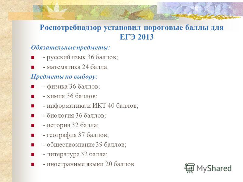 Роспотребнадзор установил пороговые баллы для ЕГЭ 2013 Обязательные предметы: - русский язык 36 баллов; - математика 24 балла. Предметы по выбору: - физика 36 баллов; - химия 36 баллов; - информатика и ИКТ 40 баллов; - биология 36 баллов; - история 3