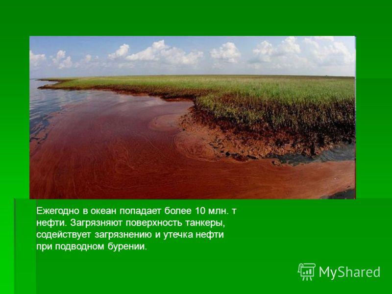 Ежегодно в океан попадает более 10 млн. т нефти. Загрязняют поверхность танкеры, содействует загрязнению и утечка нефти при подводном бурении.
