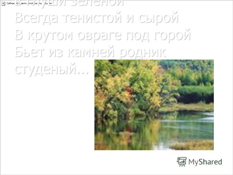 В глуши лесной, в глуши зеленой Всегда тенистой и сырой В крутом овраге под горой Бьет из камней родник студеный...