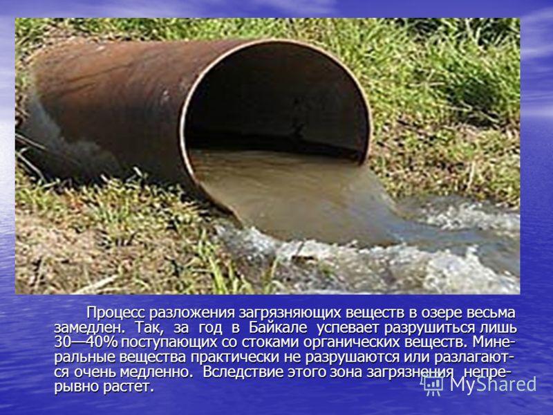Процесс разложения загрязняющих веществ в озере весьма замедлен. Так, за год в Байкале успевает разрушиться лишь 3040% поступающих со стоками органических веществ. Мине- ральные вещества практически не разрушаются или разлагают- ся очень медленно. Вс