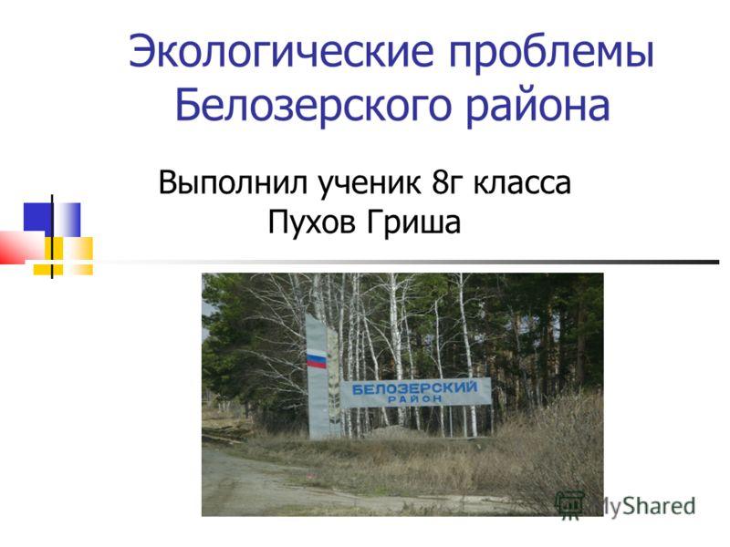 Экологические проблемы Белозерского района Выполнил ученик 8г класса Пухов Гриша