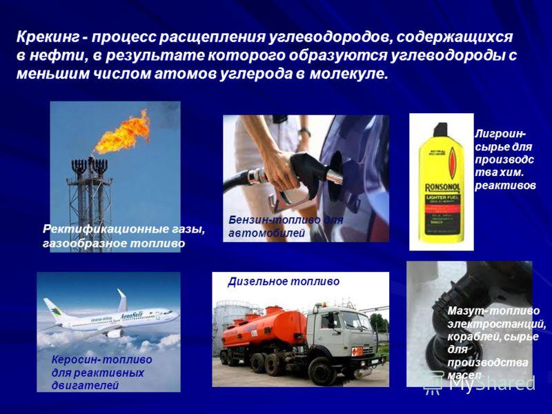 Крекинг - процесс расщепления углеводородов, содержащихся в нефти, в результате которого образуются углеводороды с меньшим числом атомов углерода в молекуле. Ректификационные газы, газообразное топливо Бензин-топливо для автомобилей Лигроин- сырье дл