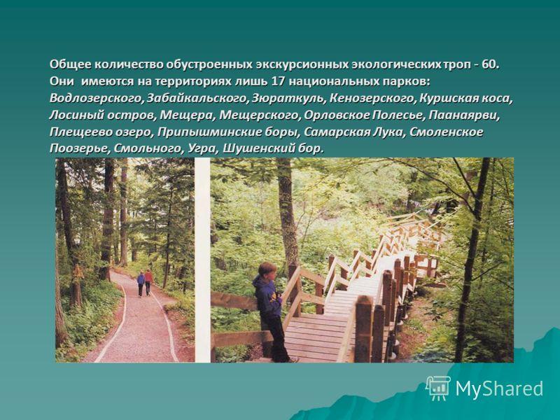 Общее количество обустроенных экскурсионных экологических троп - 60. Они имеются на территориях лишь 17 национальных парков: Водлозерского, Забайкальского, Зюраткуль, Кенозерского, Куршская коса, Лосиный остров, Мещера, Мещерского, Орловское Полесье,