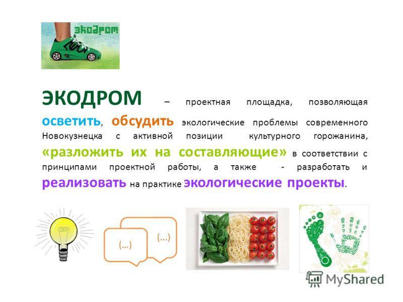 ЭКОДРОМ – проектная площадка, позволяющая осветить, обсудить экологические проблемы современного Новокузнецка с активной позиции культурного горожанина, «разложить их на составляющие» в соответствии с принципами проектной работы, а также - разработат