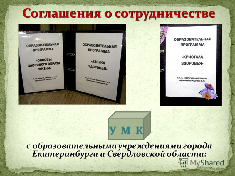 с образовательными учреждениями города Екатеринбурга и Свердловской области: Соглашения о сотрудничестве У М К