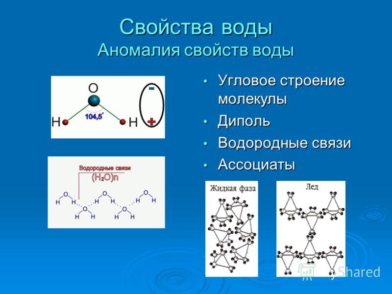 Свойства воды Аномалия свойств воды Угловое строение молекулы Угловое строение молекулы Диполь Диполь Водородные связи Водородные связи Ассоциаты Ассоциаты