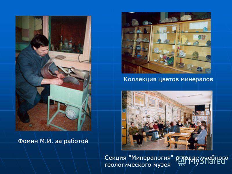 Фомин М.И. за работой Коллекция цветов минералов Секция Минералогия в холле учебного геологического музея