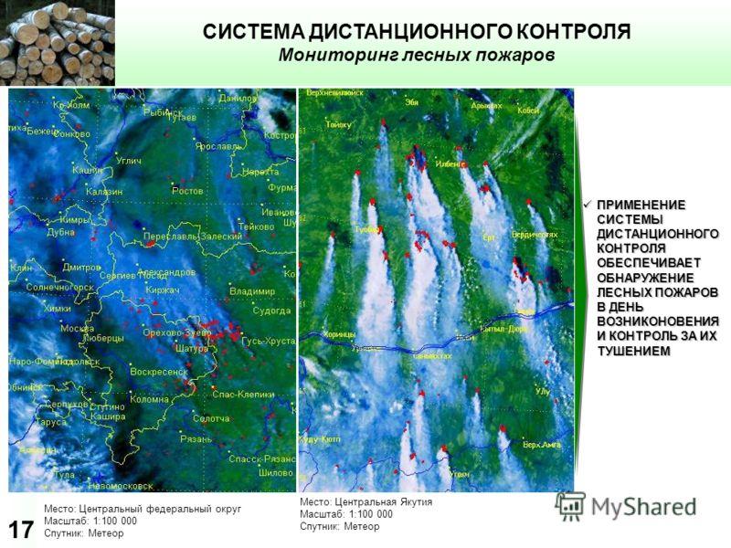 17 СИСТЕМА ДИСТАНЦИОННОГО КОНТРОЛЯ Мониторинг лесных пожаров Место: Центральный федеральный округ Масштаб: 1:100 000 Спутник: Метеор ПРИМЕНЕНИЕ СИСТЕМЫ ДИСТАНЦИОННОГО КОНТРОЛЯ ОБЕСПЕЧИВАЕТ ОБНАРУЖЕНИЕ ЛЕСНЫХ ПОЖАРОВ В ДЕНЬ ВОЗНИКОНОВЕНИЯ И КОНТРОЛЬ З