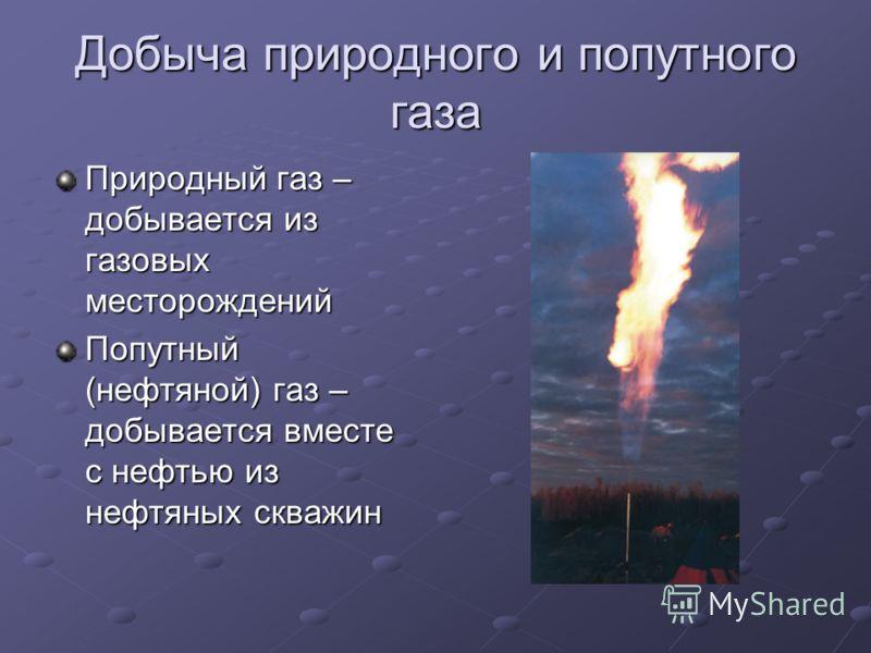 Добыча природного и попутного газа Природный газ – добывается из газовых месторождений Попутный (нефтяной) газ – добывается вместе с нефтью из нефтяны