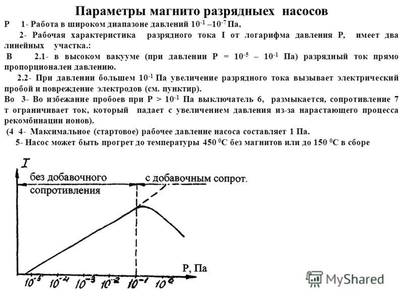 Параметры магнито разрядныех насосов Р 1- Работа в широком диапазоне давлений 10 -1 –10 -7 Па, 2- Рабочая характеристика разрядного тока I от логарифма давления P, имеет два линейных участка.: В 2.1- в высоком вакууме (при давлении Р = 10 -5 – 10 -1