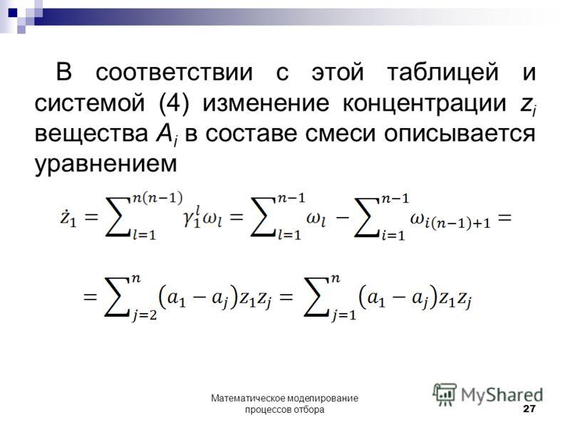 В соответствии с этой таблицей и системой (4) изменение концентрации z i вещества A i в составе смеси описывается уравнением Математическое моделирование процессов отбора 27