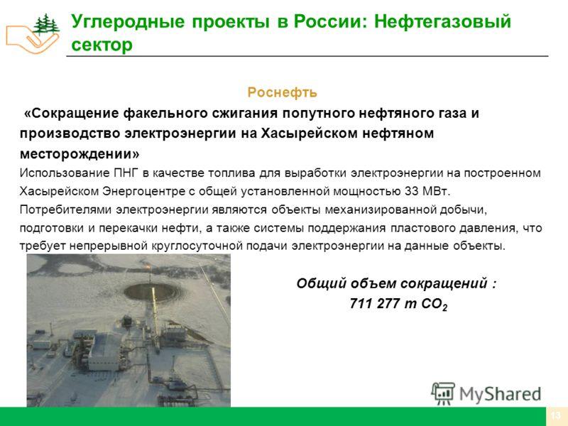 Роснефть «Сокращение факельного сжигания попутного нефтяного газа и производство электроэнергии на Хасырейском нефтяном месторождении» Использование ПНГ в качестве топлива для выработки электроэнергии на построенном Хасырейском Энергоцентре с общей у