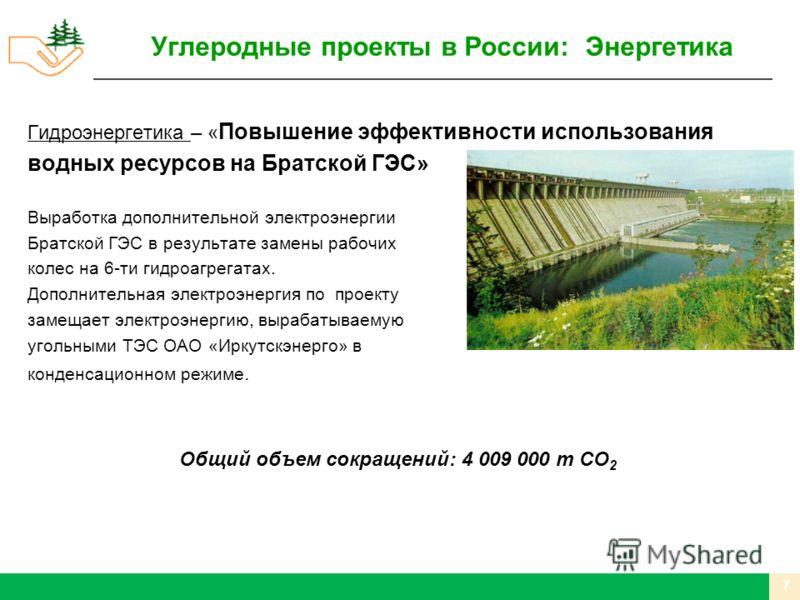 Гидроэнергетика – « Повышение эффективности использования водных ресурсов на Братской ГЭС» Выработка дополнительной электроэнергии Братской ГЭС в результате замены рабочих колес на 6-ти гидроагрегатах. Дополнительная электроэнергия по проекту замещае