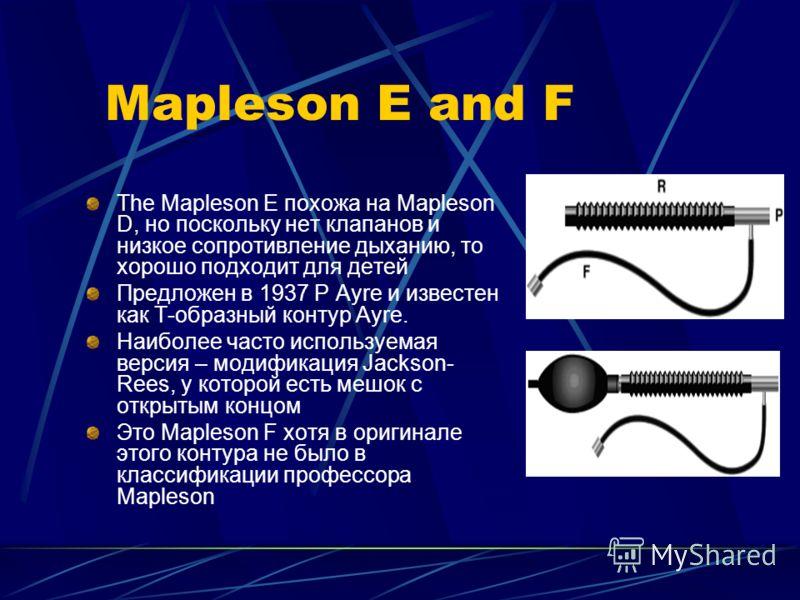 Mapleson E and F The Mapleson E похожа на Mapleson D, но поскольку нет клапанов и низкое сопротивление дыханию, то хорошо подходит для детей Предложен в 1937 P Ayre и известен как Т-образный контур Ayre. Наиболее часто используемая версия – модификац