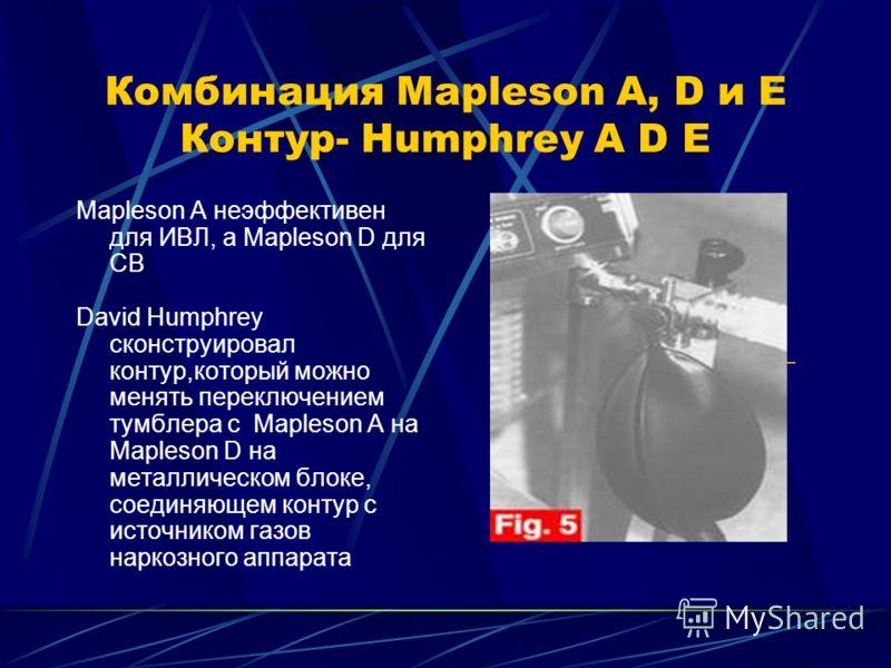 Комбинация Mapleson A, D и E Контур- Humphrey A D E Mapleson A неэффективен для ИВЛ, а Mapleson D для СВ David Humphrey сконструировал контур,который можно менять переключением тумблера с Mapleson A на Mapleson D на металлическом блоке, соединяющем к